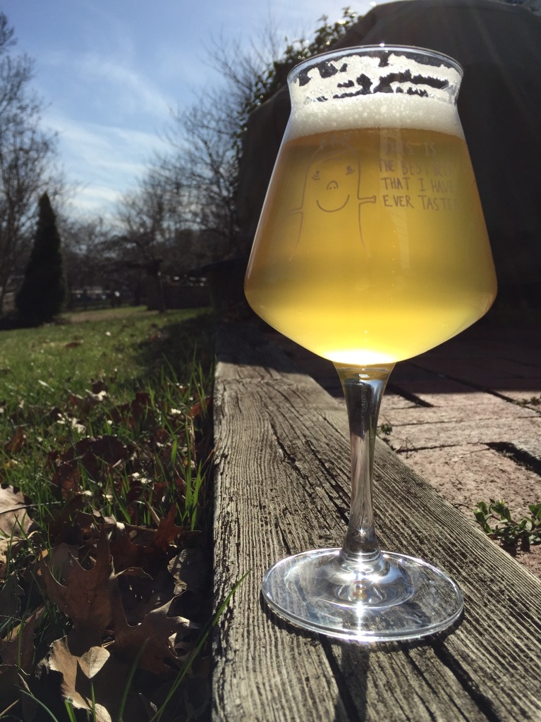 Enjoying a seasonal Saison outside on a spring day